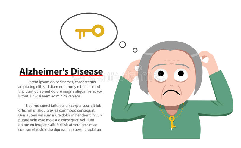 Sjukdom för Alzheimer ` s i den gamla kvinnan, vektor vektor illustrationer