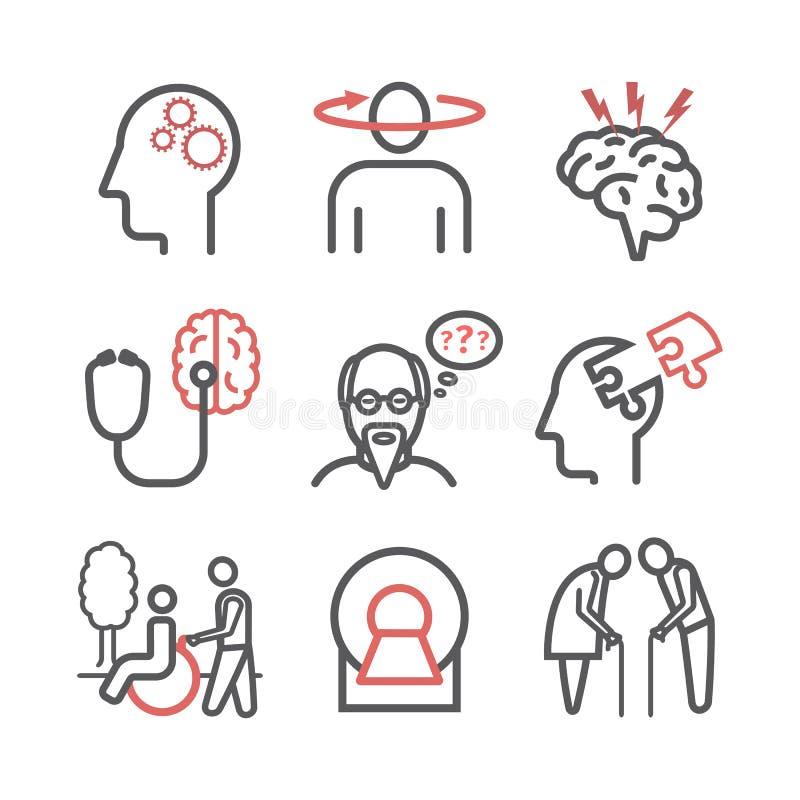Sjukdom och demens för Alzheimer ` s tecken Linje symbolsuppsättning Vektortecken för rengöringsdukdiagram vektor illustrationer