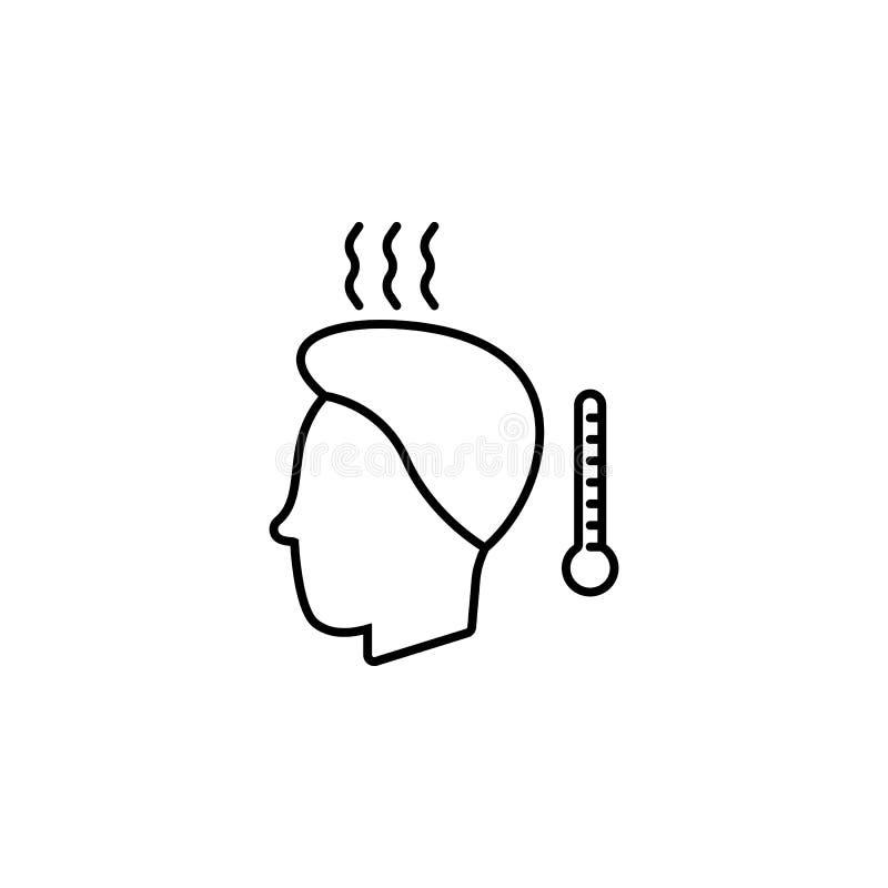 Sjukdomar patient, temperaturvektor Muskelknip, förkylning och bronkit, lunginflammation och feber, vård- medicinsk illustration  royaltyfri illustrationer