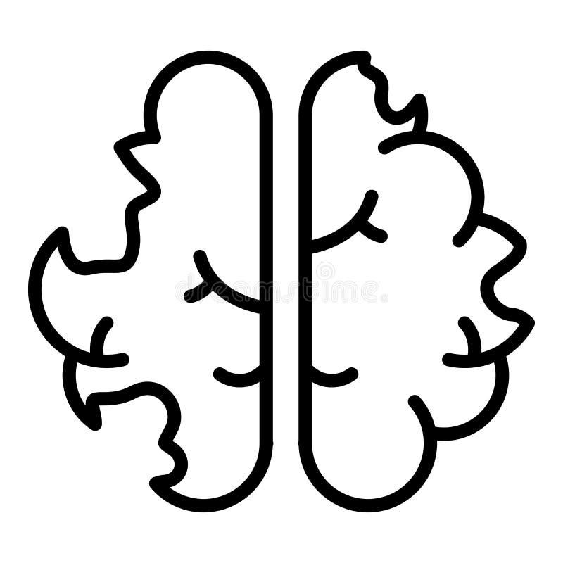 Sjukdomhjärnsymbol, översiktsstil stock illustrationer