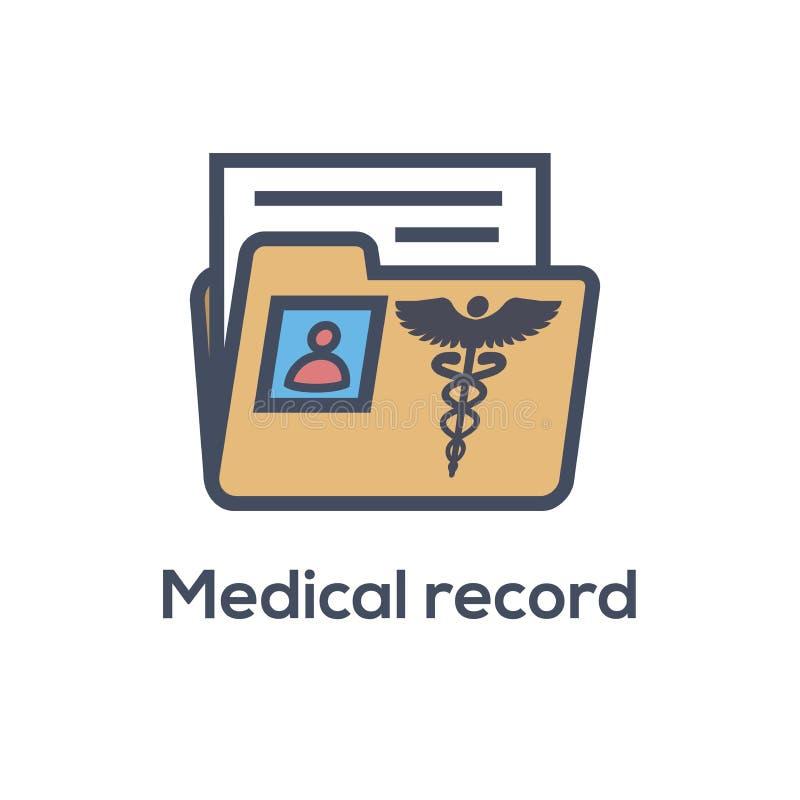 Sjukdomshistoriasymbol med Caduceus och personligt vård- rekord im vektor illustrationer