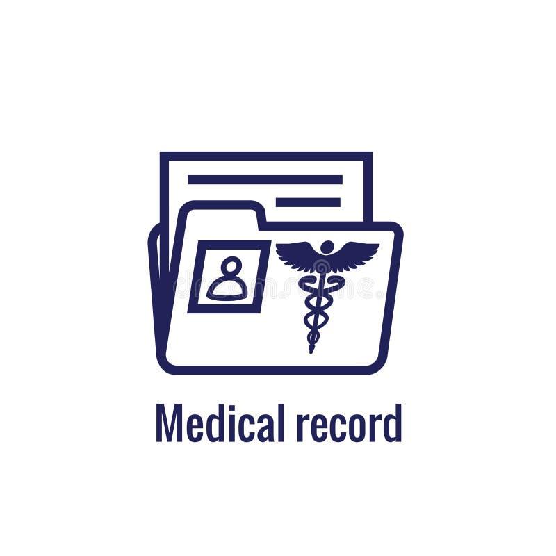 Sjukdomshistoriasymbol med Caduceus och personligt vård- rekord im stock illustrationer