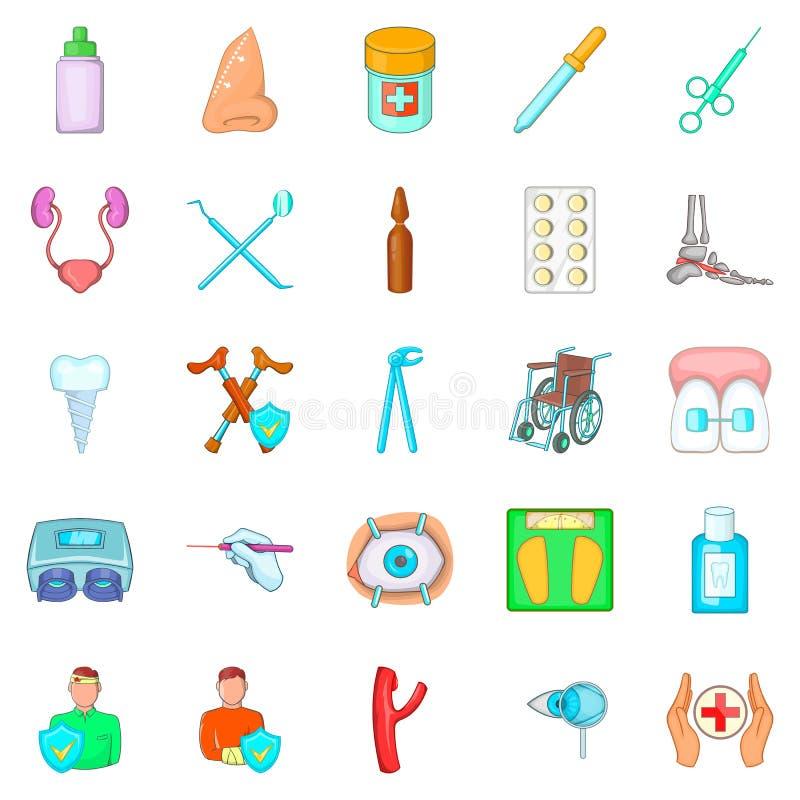 Sjukdomsymboler uppsättning, tecknad filmstil royaltyfri illustrationer