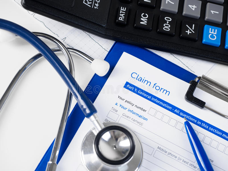 Sjukförsäkringreklamationsform royaltyfri foto