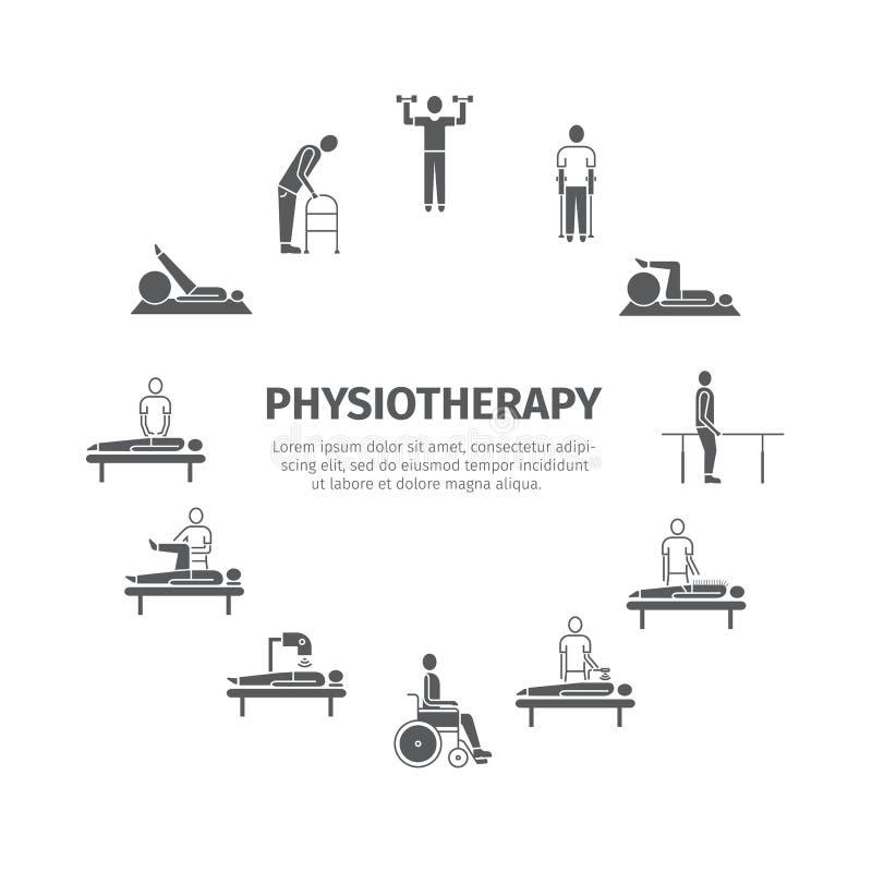 Sjukgymnastik rehabiliteringmitt stock illustrationer