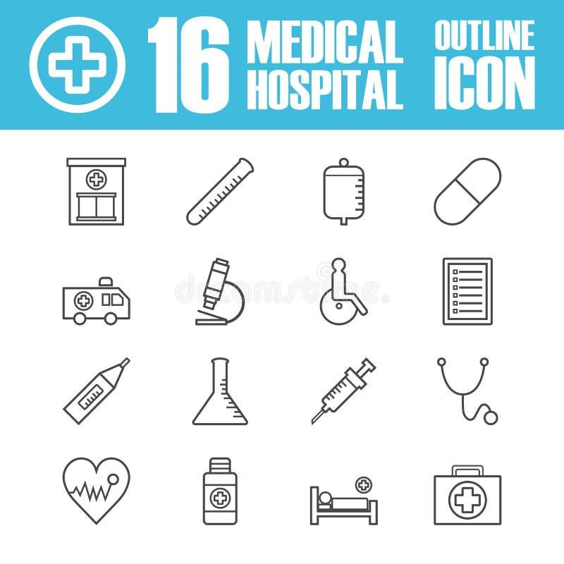 Sjukhusöversiktssymbol vektor illustrationer