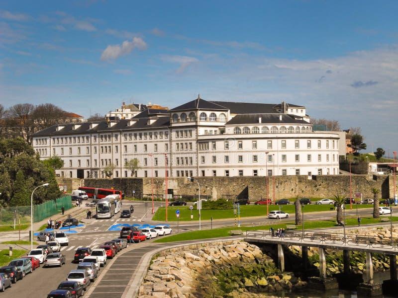 Sjukhus Abente y Lago på port av en Coruna, Galicia, Spanien royaltyfri foto