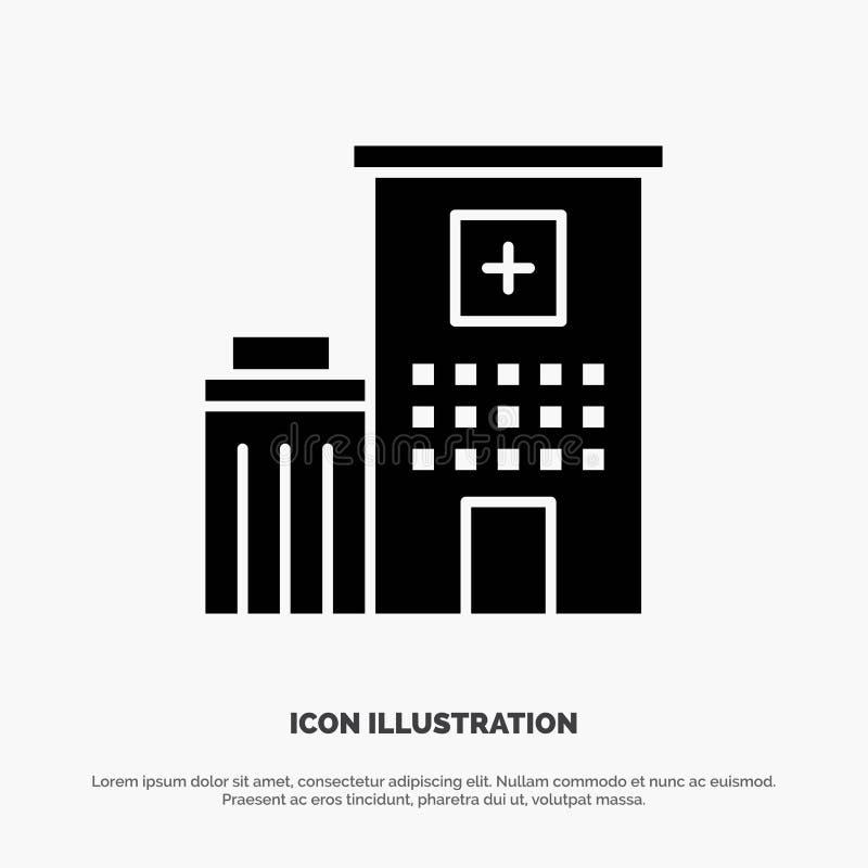 Sjukhus byggnad, klinik, medicinsk fast svart skårasymbol stock illustrationer
