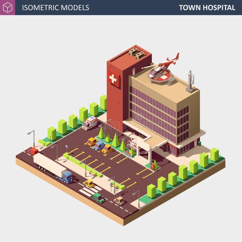 Sjukhus- eller ambulansbyggnad Isometrisk plan stilvektorillustration royaltyfri illustrationer