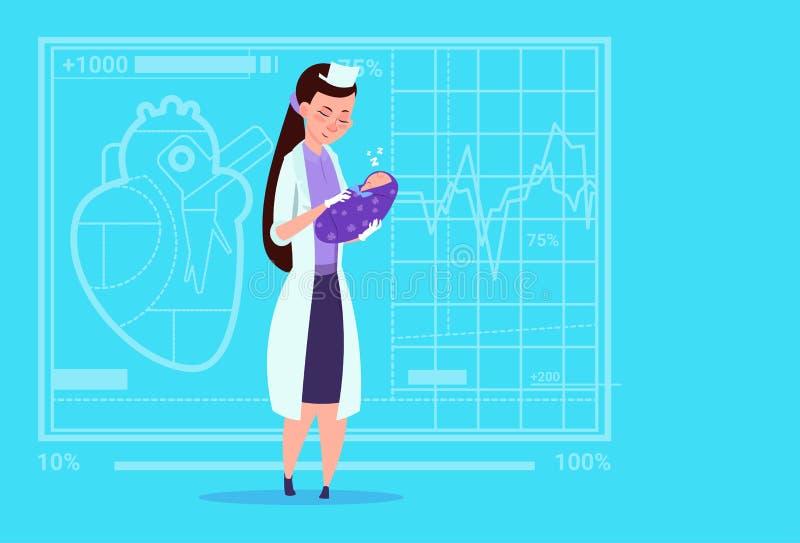 Sjukhus för arbetare för kliniker för moderskap för kvinnlig pojke för doktor Hold Newborn Baby medicinskt vektor illustrationer