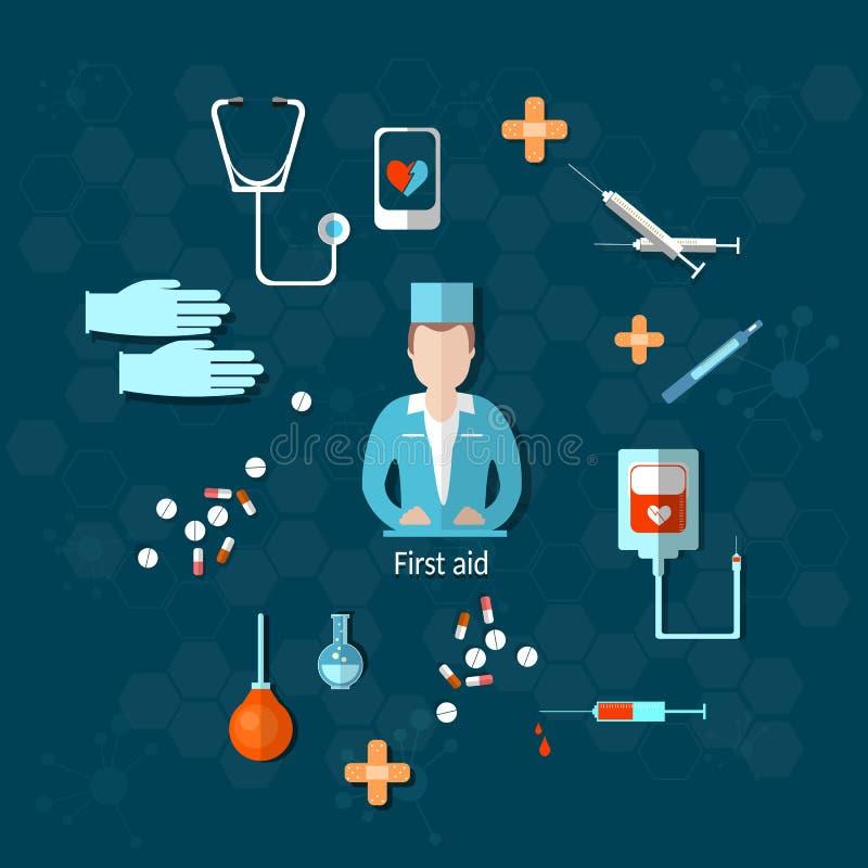 Sjukhus för doktorsmedicinförsta hjälpen vektor illustrationer