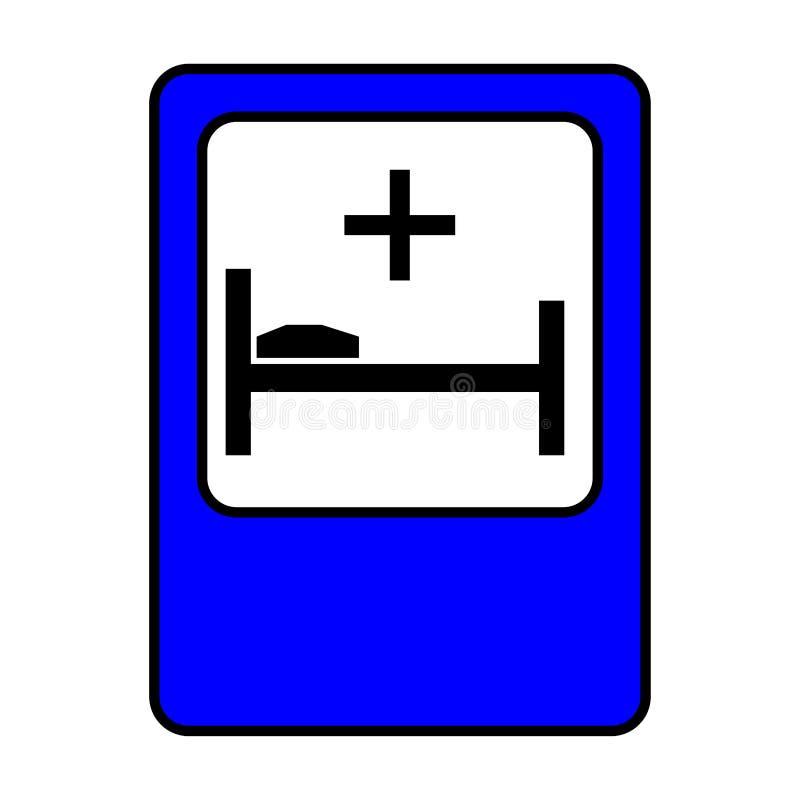 Sjukhus för trafiktecken Säng och argt tecken vektor illustrationer