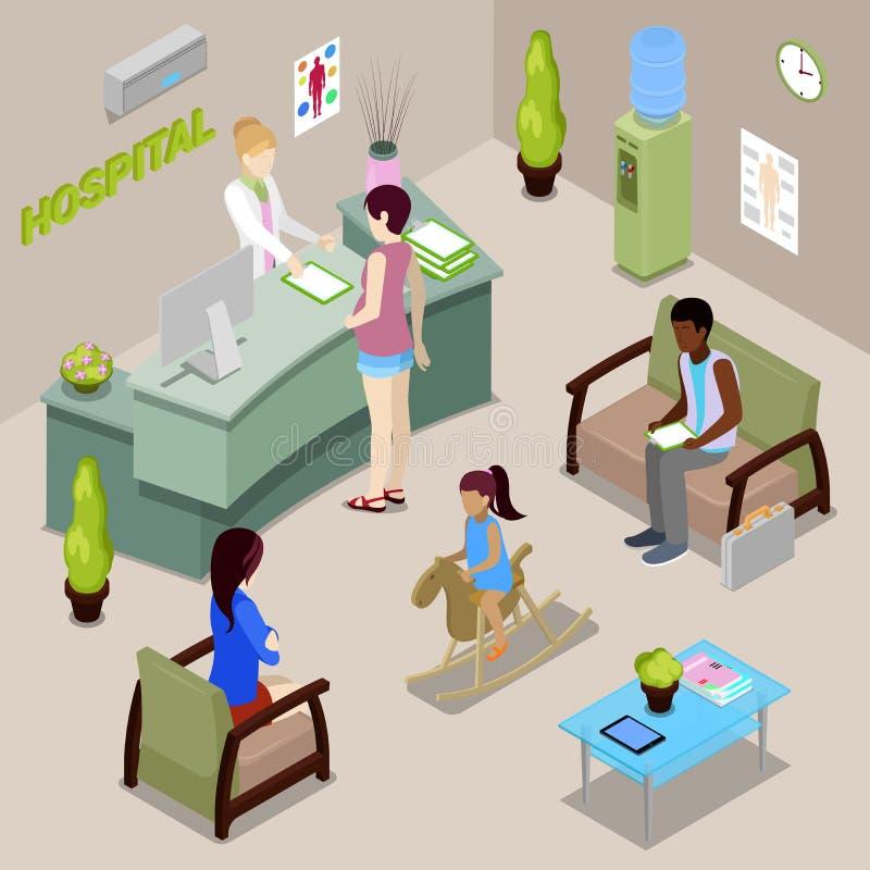 Sjukhus Hall Interior med sjuksköterskan och patienter stock illustrationer