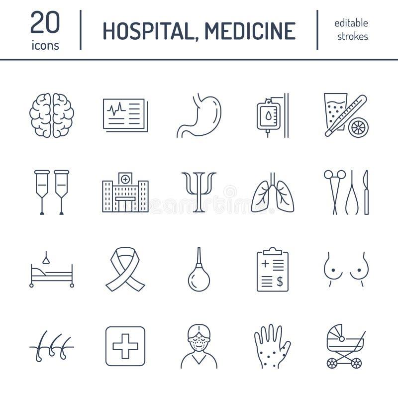 Sjukhus läkarundersökninglägenhetlinje symboler Mänskliga organ, mage, hjärna, influensa, oncology, plastikkirurgi, psykologi, br royaltyfri illustrationer