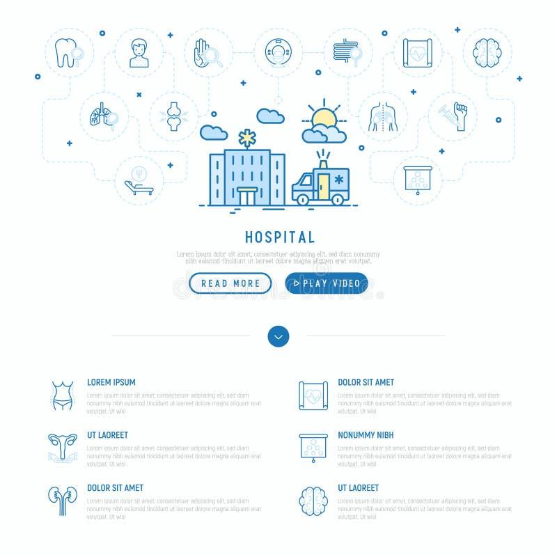 Sjukhus- och ambulansbegrepp med den tunna linjen symbol stock illustrationer