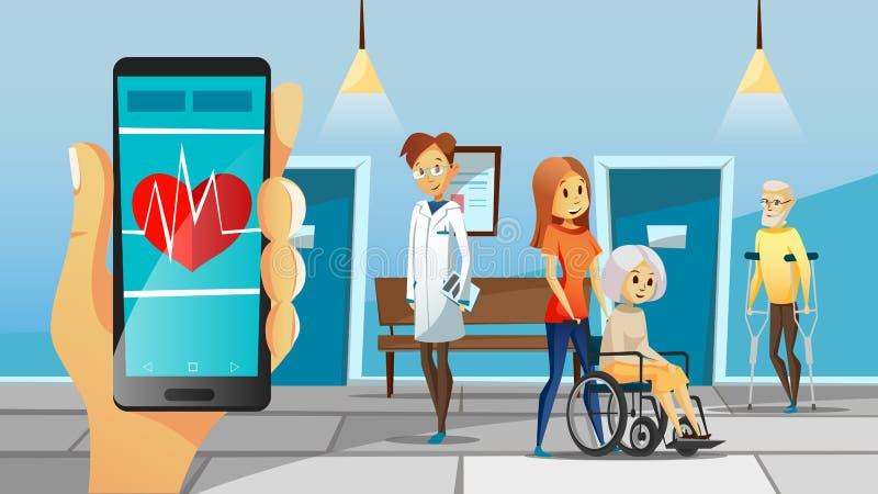 Sjukhus och gammal patientvektorillustration av kvinnan i rullstolen, man på kryckan för medicinsk hjälptecknad film för doktor royaltyfri illustrationer