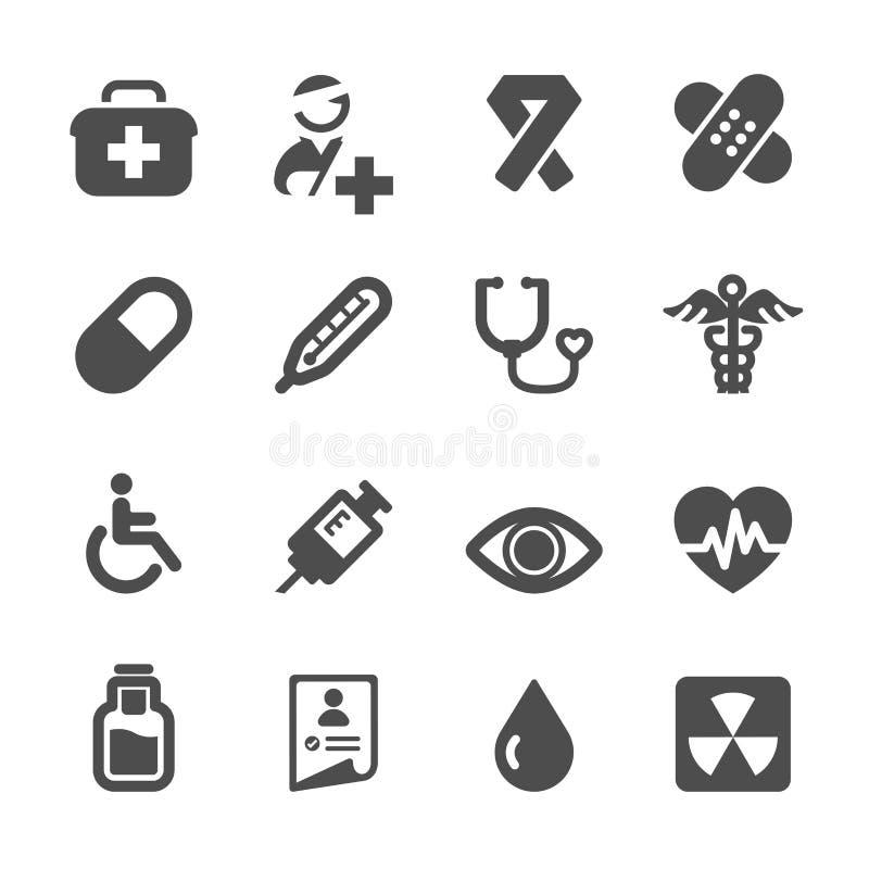 Sjukhus- och läkarundersökningsymbolsuppsättning royaltyfri illustrationer
