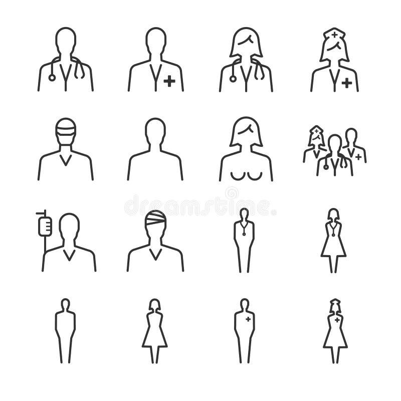 Sjukhus- och läkarundersökningsymbolsuppsättning 1 stock illustrationer