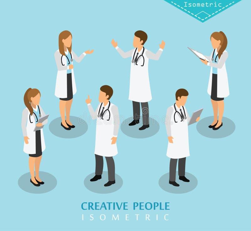 Sjukhus och medicinsk vård för folk isometriskt stock illustrationer