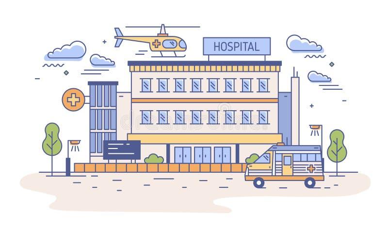 Sjukhus, rehabiliteringmitt eller byggnad för nöd- avdelning med helikoptern som överst landar av den och ambulansen vektor illustrationer