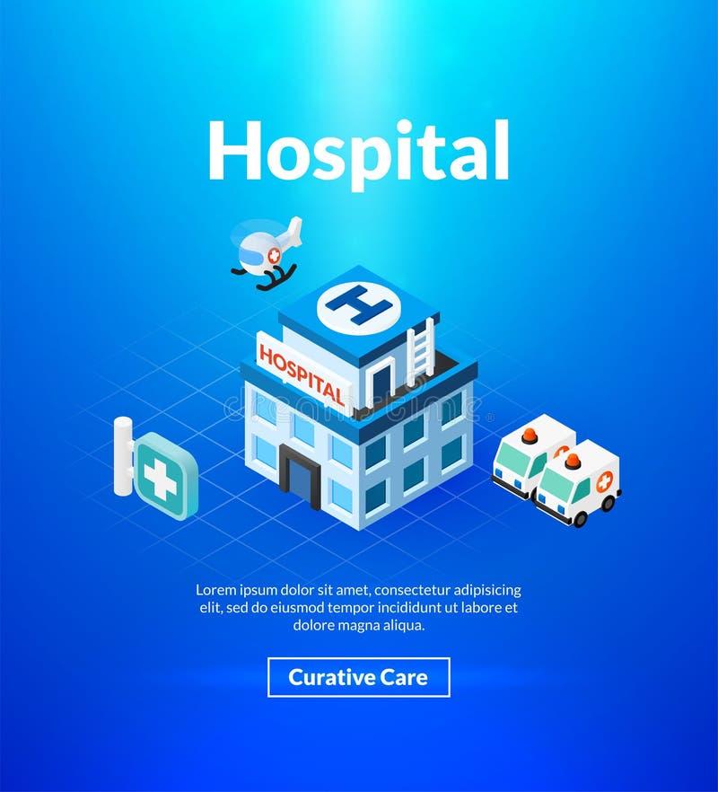 Sjukhusaffisch av den isometriska färgdesignen royaltyfri illustrationer