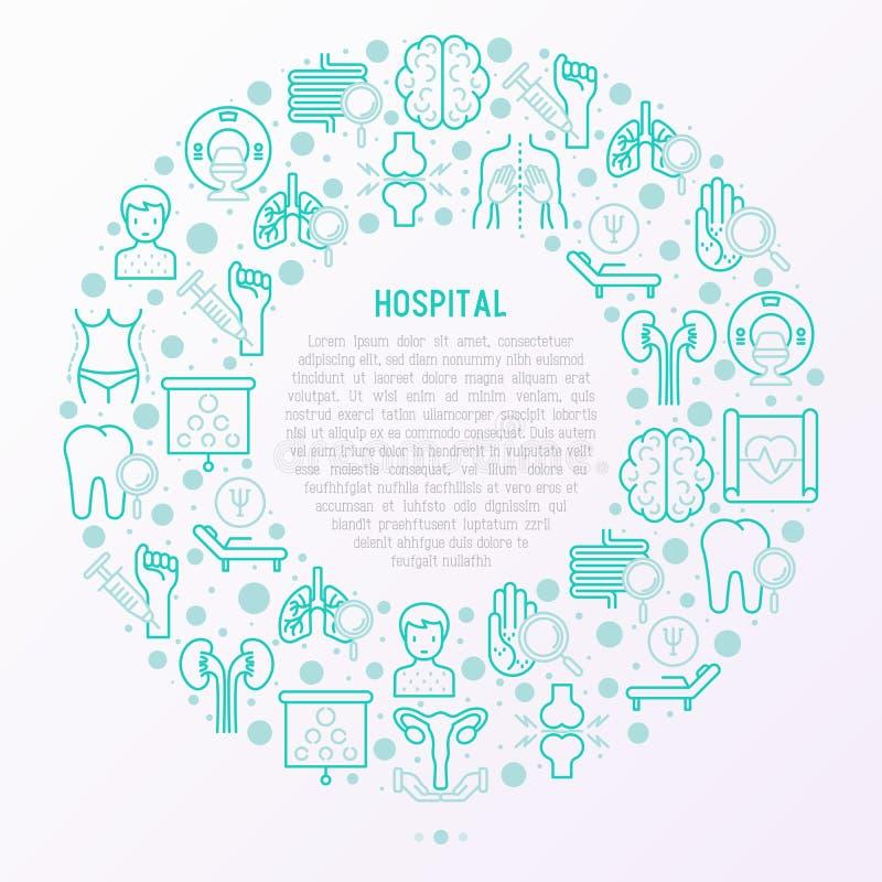 Sjukhusbegrepp i cirkel med den tunna linjen symboler vektor illustrationer