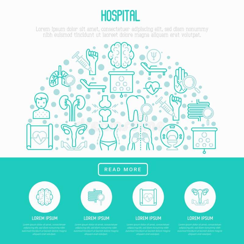 Sjukhusbegrepp i halv cirkel stock illustrationer
