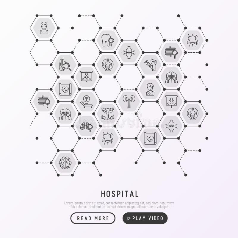 Sjukhusbegrepp i honungskakor med den tunna linjen symbol stock illustrationer