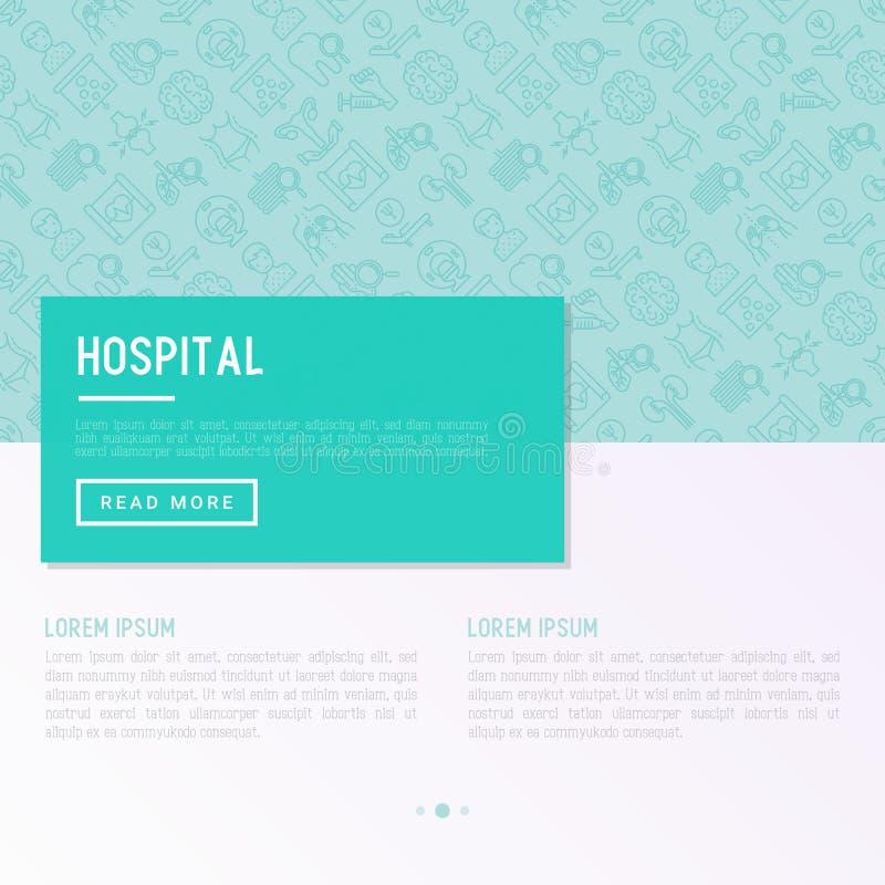 Sjukhusbegrepp med den tunna linjen symboler vektor illustrationer