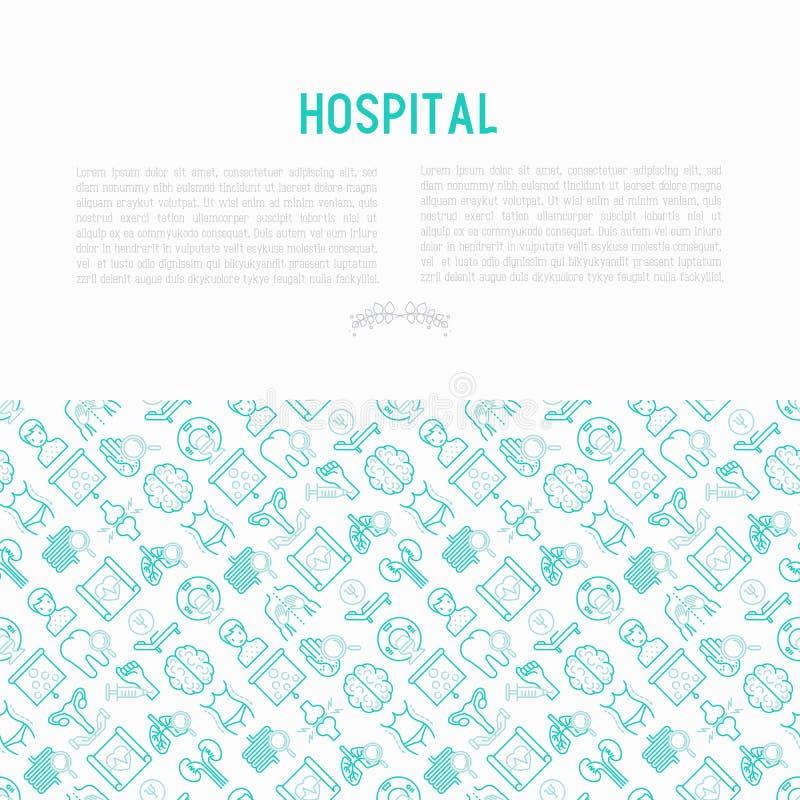 Sjukhusbegrepp med den tunna linjen symboler stock illustrationer