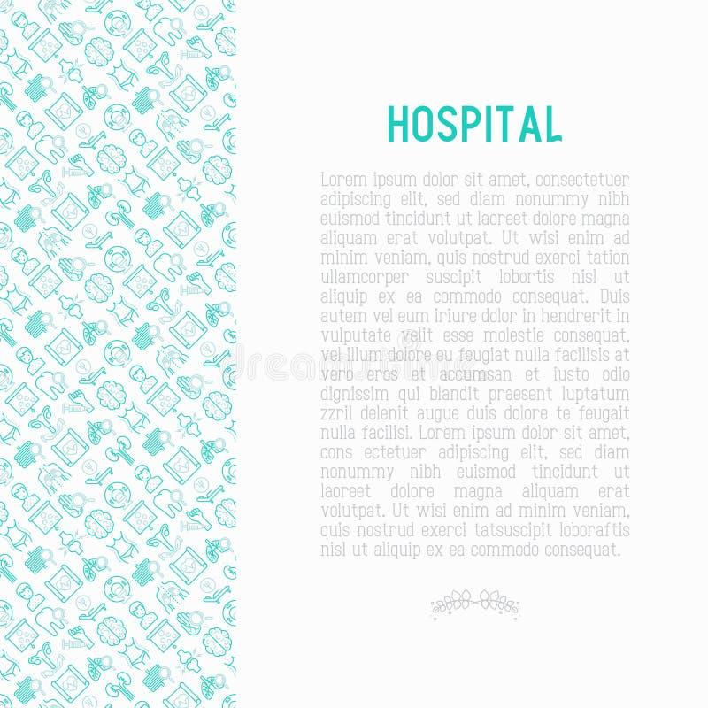 Sjukhusbegrepp med den tunna linjen symboler royaltyfri illustrationer