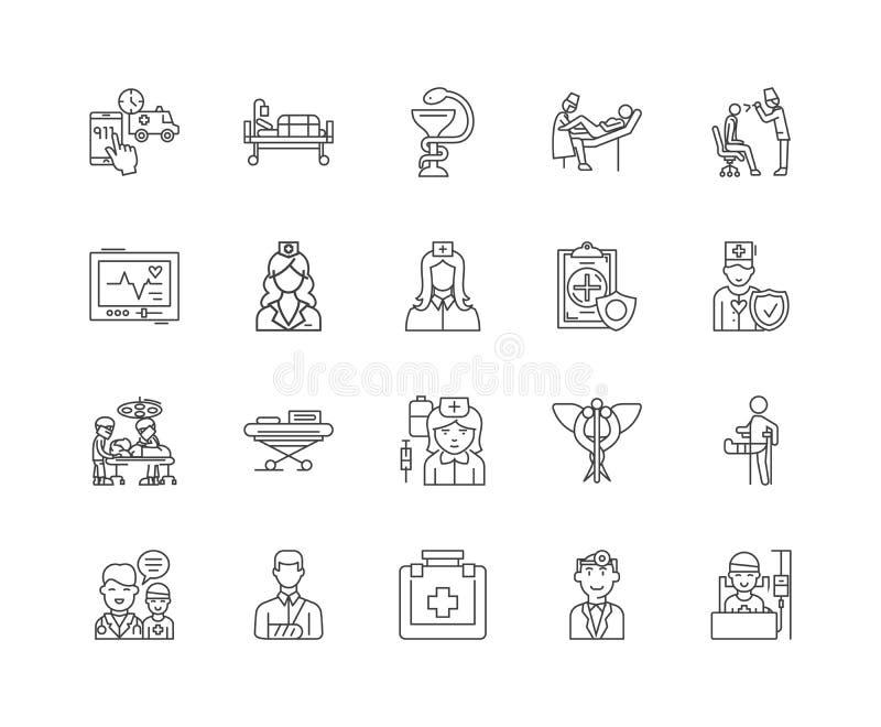 Sjukhusbegreppslinje symboler, tecken, vektoruppsättning, översiktsillustrationbegrepp vektor illustrationer