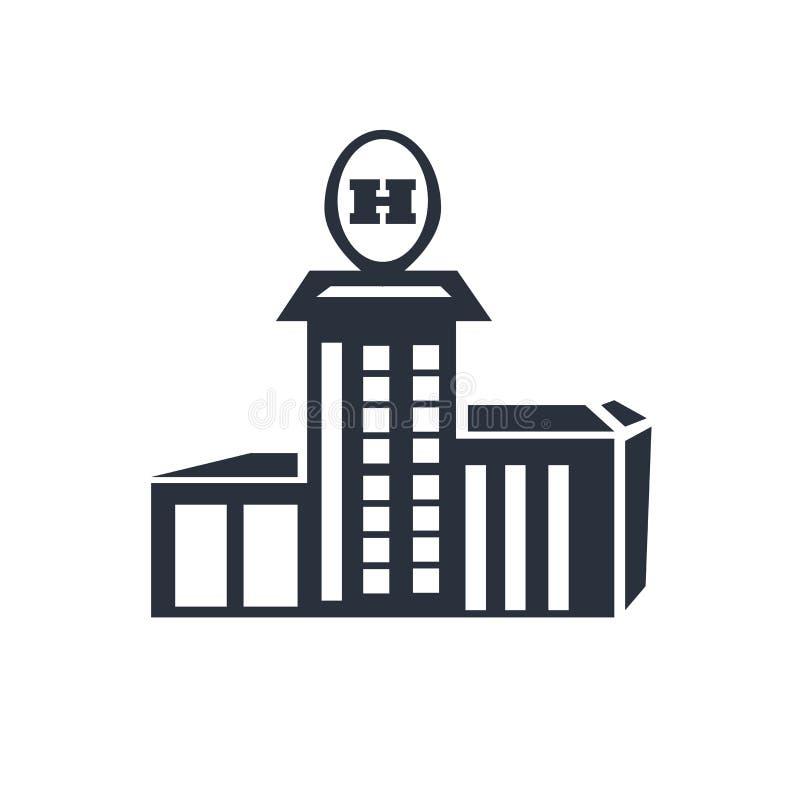 Sjukhusbokstavstecknet i rundat fyrkantigt symbolsvektortecken och symbolet som isolerades på vit bakgrund, sjukhusbokstavstecken royaltyfri illustrationer