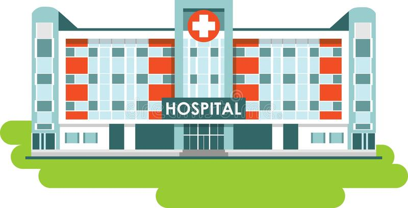 Sjukhusbyggnad på vit bakgrund