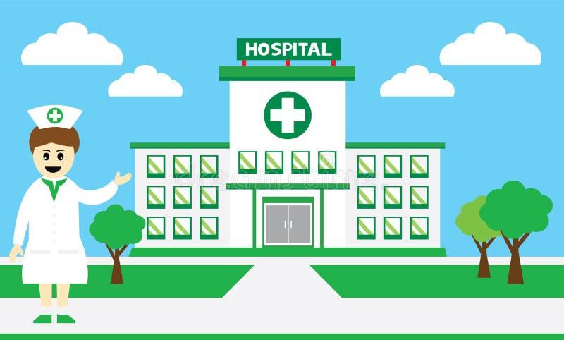 Sjukhusbyggnaden stock illustrationer