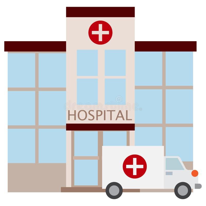 Sjukhusbyggnadssymbol, vektorillustration vektor illustrationer