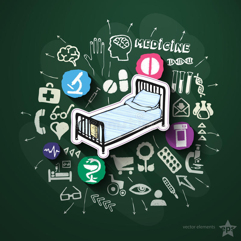 Sjukhuscollage med symboler på svart tavla stock illustrationer