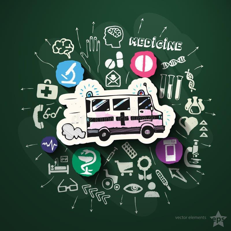 Sjukhuscollage med symboler på svart tavla vektor illustrationer