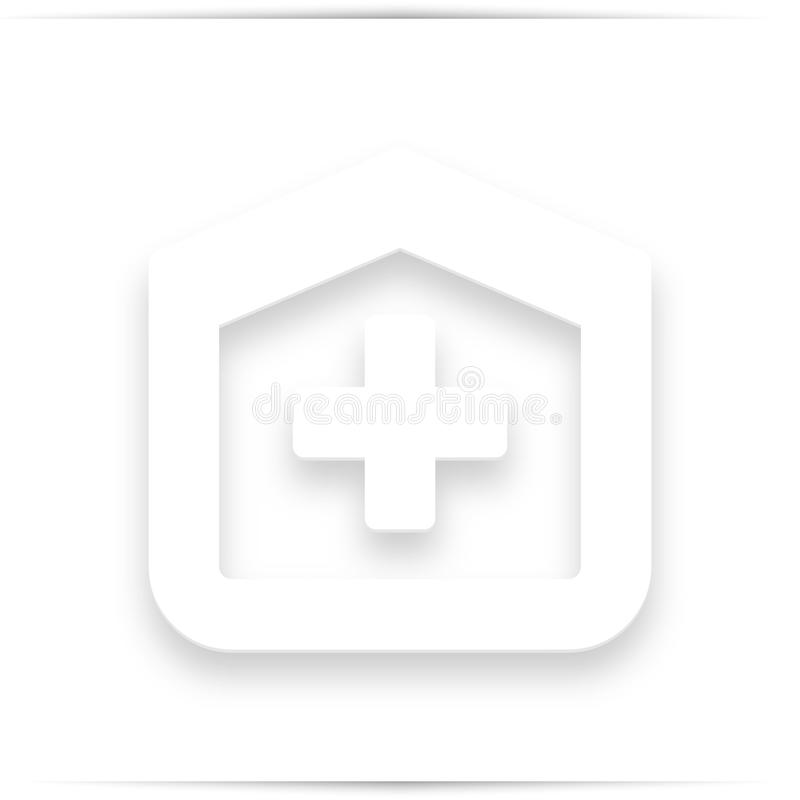 Sjukhusdesign över den vita bakgrundsillustrationen royaltyfri illustrationer