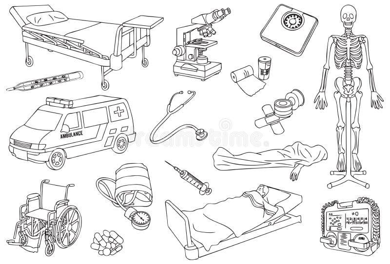 Sjukhuset, sjukvården och den medicinska översikten, skissar och fodrar Art Vector Illustration vektor illustrationer