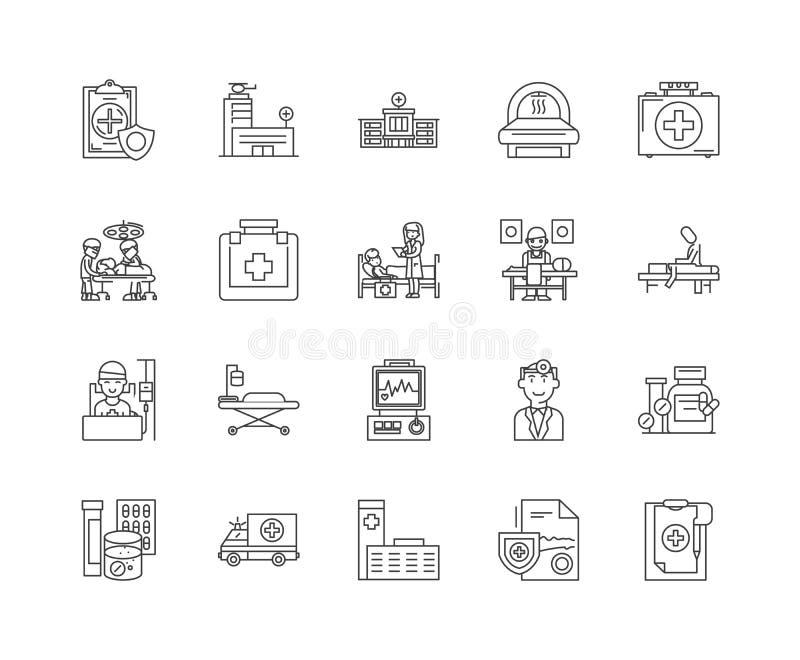 Sjukhuslinje symboler, tecken, vektoruppsättning, översiktsillustrationbegrepp vektor illustrationer