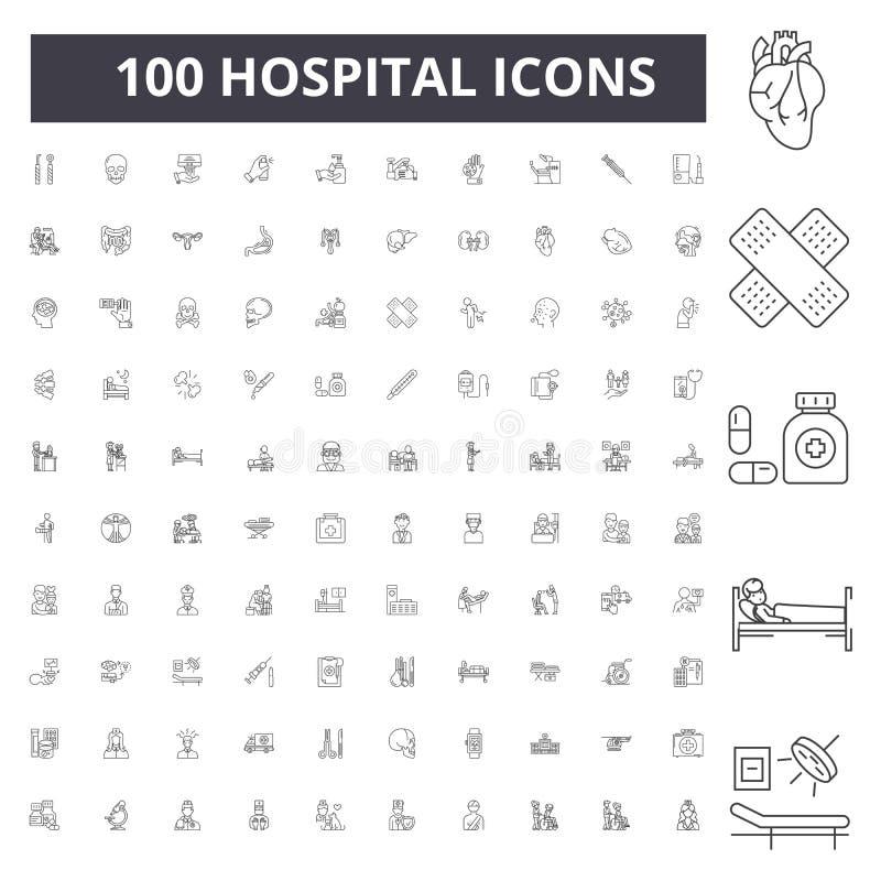 Sjukhuslinje symboler, tecken, vektorupps?ttning, ?versiktsillustrationbegrepp vektor illustrationer