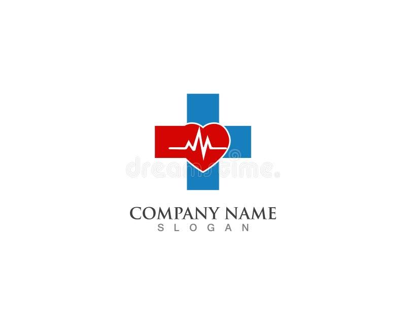 Sjukhuslogo och hälsa för vektor för symbolmallsymboler stock illustrationer