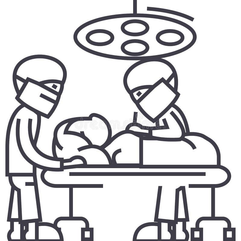 Sjukhusrum med doktorer, linje symbol, tecken, illustration för kirurgioperationvektor på bakgrund, redigerbara slaglängder royaltyfri illustrationer