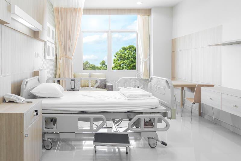 Sjukhusrum med sängar och bekväm läkarundersökning som utrustas i en mo arkivbild