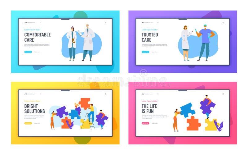 Sjukhussjukvårdpersonalen, doktorer, kirurgen Characters, folkgrupp ställde in pusselstycken Websitelandning royaltyfri illustrationer