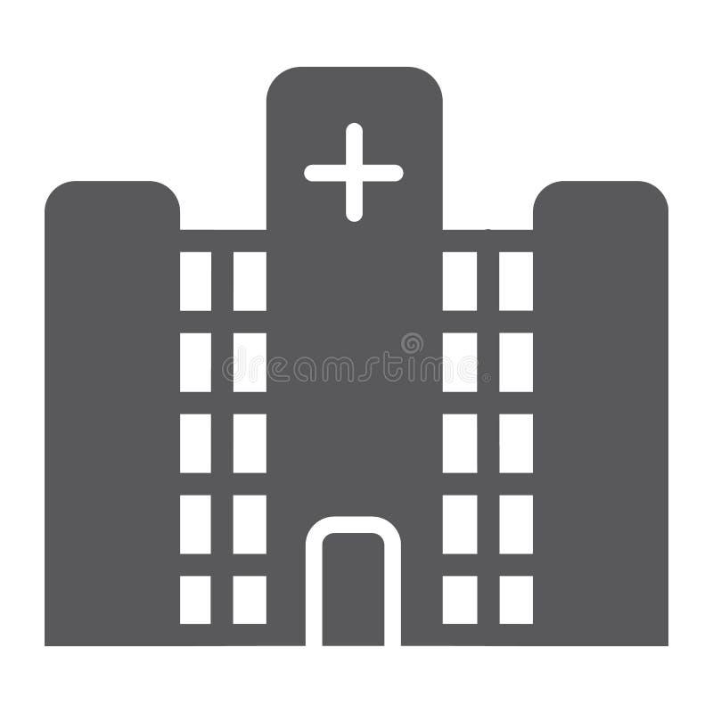 Sjukhusskårasymbol, medicin och byggnad, kliniktecken, vektordiagram, en fast modell på en vit bakgrund stock illustrationer