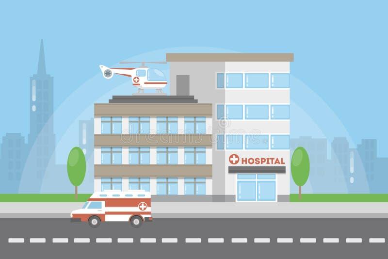 Sjukhusstadsbyggnad royaltyfri illustrationer