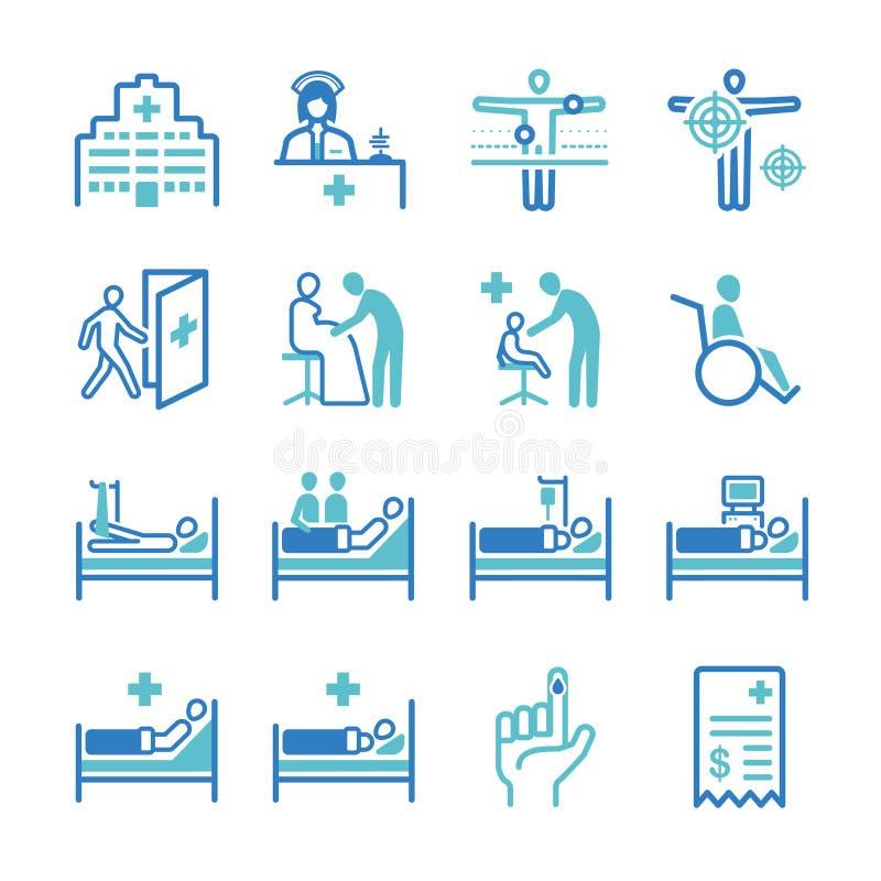 Sjukhussymbolsuppsättning stock illustrationer