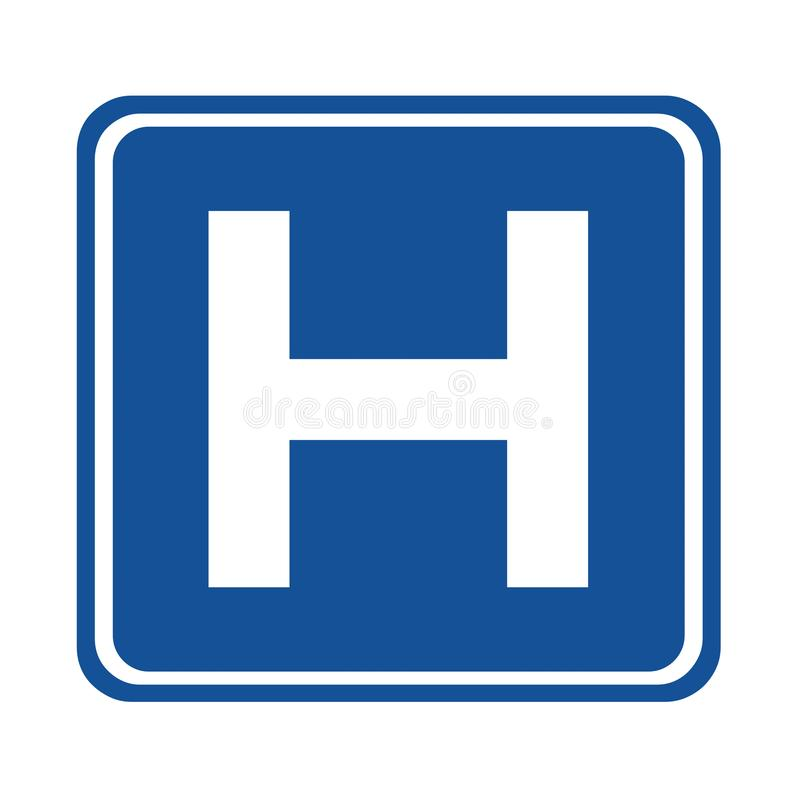 Sjukhusvägmärke stock illustrationer